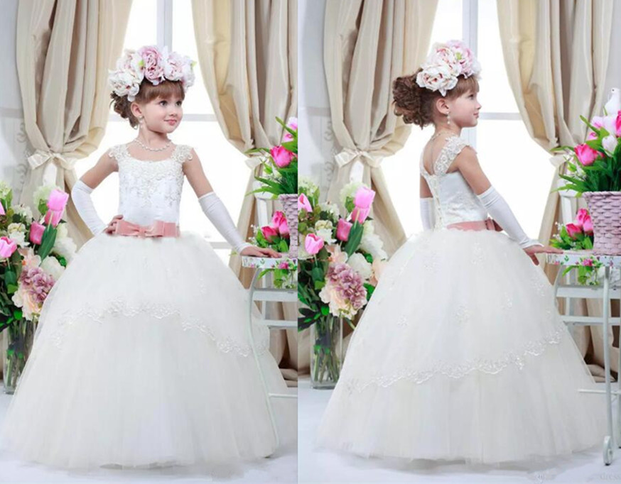 2017 Custom Made White Ivory Flower Girls Dress Lace Puffy First Communion Dress Girls Pageant Gown Any Size white ivory girls first communion dresses ball gown lace with sash long junior flower girl dress for wedding custom any size