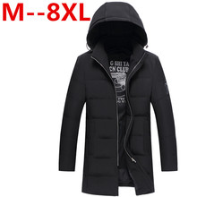 PLUS size 10xl 8xl 6xl 5xl 2017 Mens Winter Parkas Mid -Long Smooth Metal Zipper Stand Collar Simple Handsome Winter Jacket Men