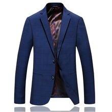 Мужская синяя модная деловая формальная куртка Блейзер мужской