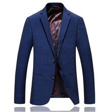 Mens Blue Fashion Business Formal Jacket Blazer Men Stripe Suit Slim Fit Classic Costume Style
