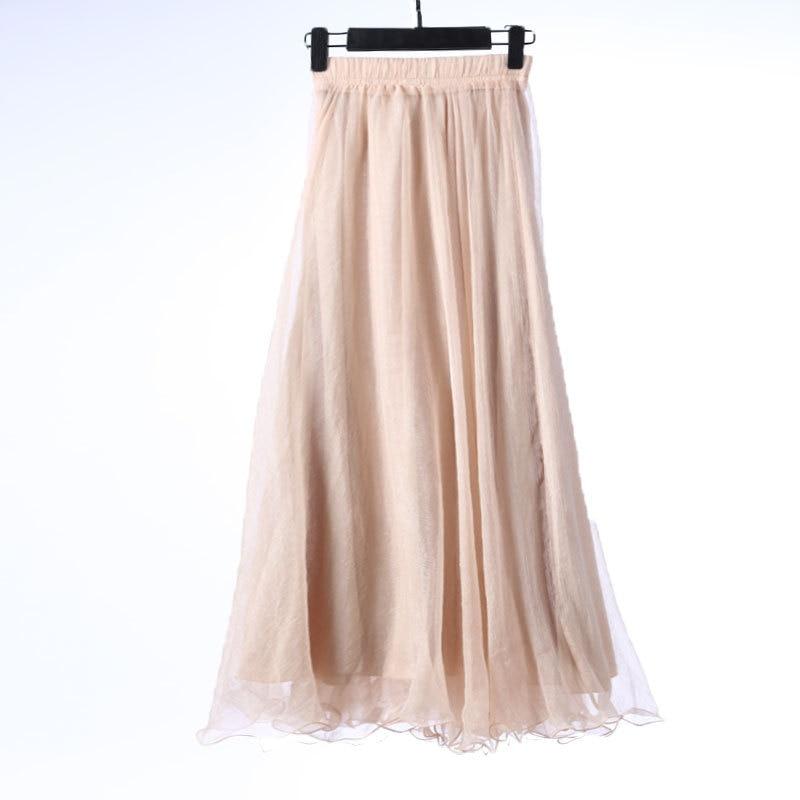 Sherhure 19 High Waist Women Chiffon Long Skirts Floor Length Ruffles White Summer Boho Maxi Skirt Saia Longa Faldas 43