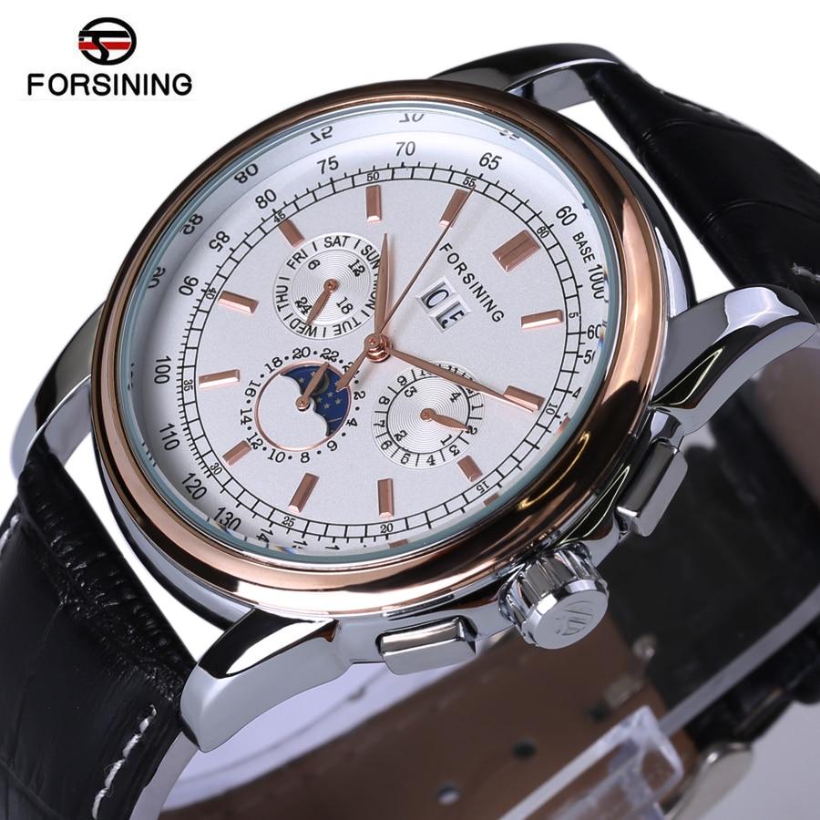 -Marke Luxus Echtem Leder Automatische Uhren Mondphase Black Lederband Herrenuhr
