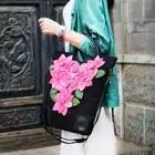 Bohemio hecho a mano tela flor totes Vintage negro lona mujeres viaje mensajero bolsos de hombro