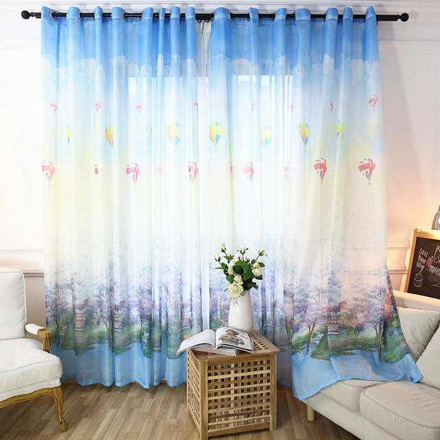 Modern Children Print Voile Curtains Bedroom Sheer Curtains for Living Room  Tulle Window Curtains/Panels Window Screening