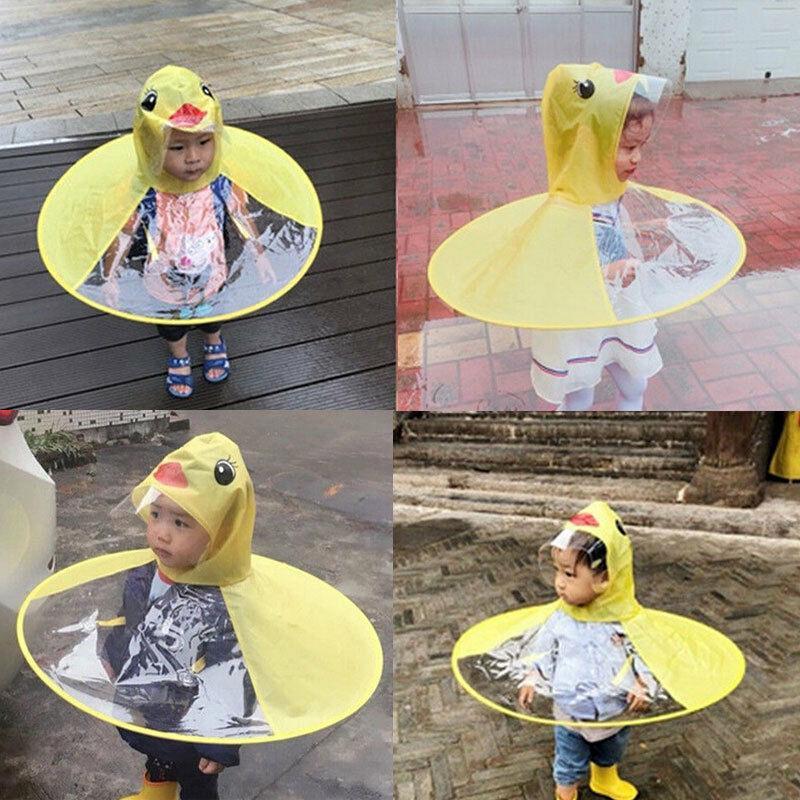 Kids Baby Girls Boys Cartoon Duck Raincoat Toddler UFO Umbrella Poncho Rain Hat