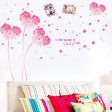 [shijuekongjian] Pink Flowers Wall Stickers DIY Plant Mural Decals for House Living Room Bedroom Decoration Hogar Memory