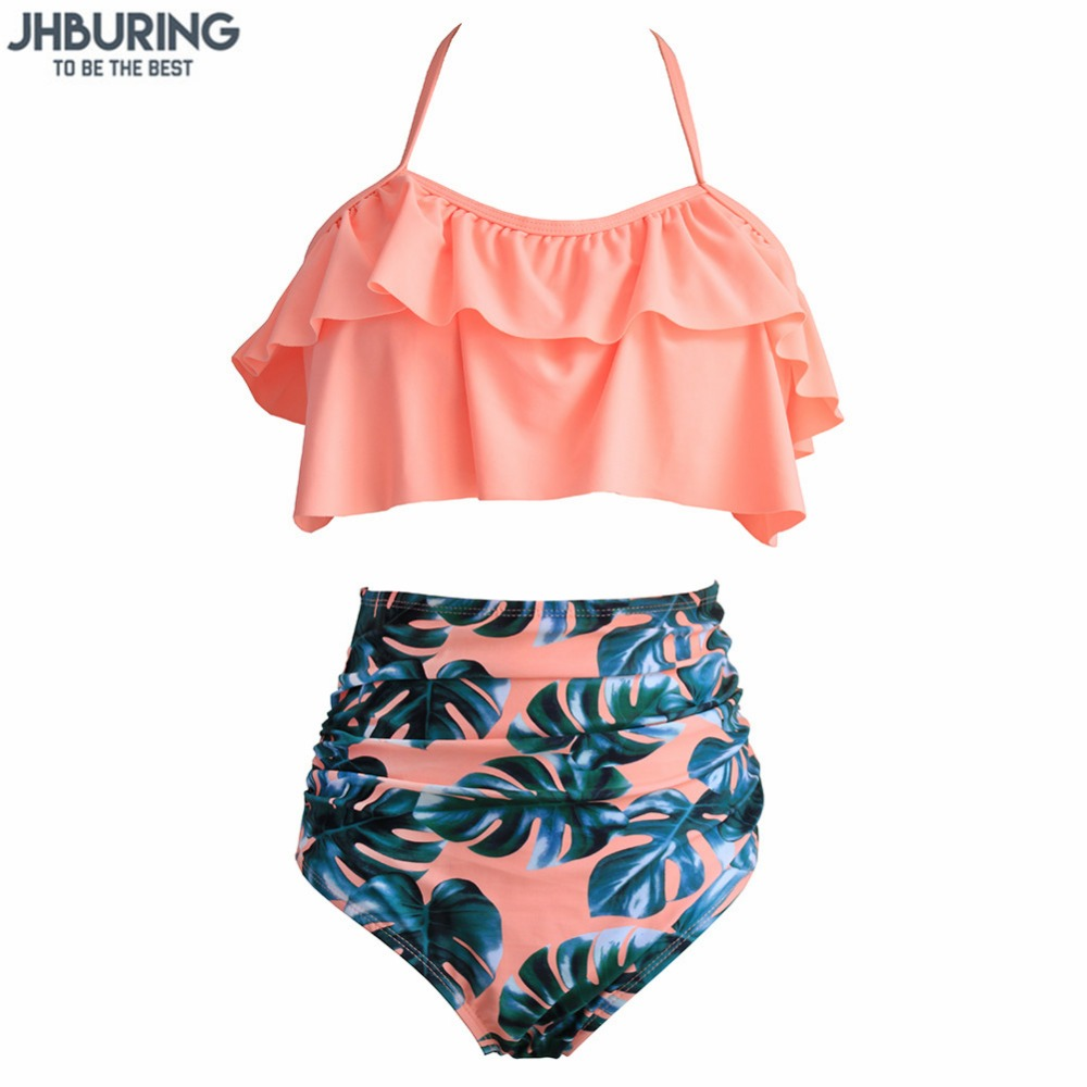 все цены на JHBuring 2018 Bikinis Women Swimwear High Waist Swimsuit Halter Sexy Bikini Set Retro Bathing Suits Plus Size Swimwear