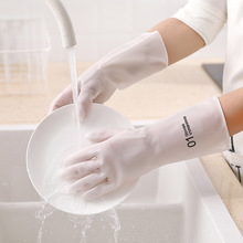 Wash Dishes Gloves Rubber Waterproof Kitchen Cleaning Washing Clothes Clean Hygienic Household Silicone Scrubber