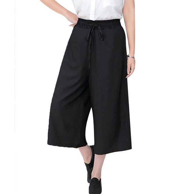 Женские брюки Лето 2017 г. семь брюки повседневные Высокая талия эластичные брюки широкую ногу шифон Твердые модные штаны плюс Размеры XL 5 цветов