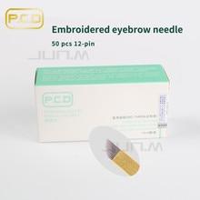 50 pcs PCD 12 Pin Permanent Makeup Eyebrow Lip Tatoo Blade Microblading Needles For 3D Embroidery Manual Tattoo Pen