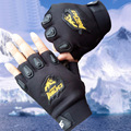 New Skull Leather Gloves Polyester Punk Rock Hip Hop Men Gloves Vintage Fashion PU Leather Skull Studded Fingerless Gloves