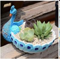 Peacock shaped fleshy flowerpot Small green planting balcony Landscape resin craft statues Vintage sculpture Home dies
