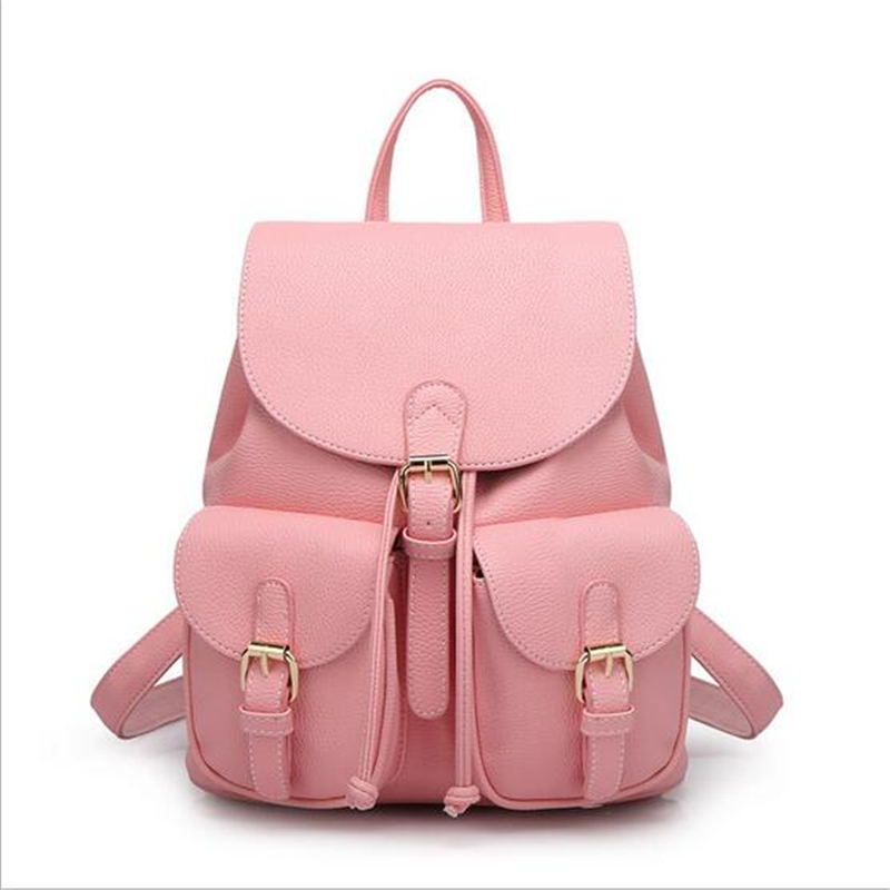 DIDA BEAR Women Leather Backpack Black Bolsas Mochila Feminina Large Girl Schoolbag Travel Bag Solid Candy Color Pink Beige dida bear women leather backpacks bolsas mochila feminina girls large schoolbags travel bag sac a dos black pink solid patchwork
