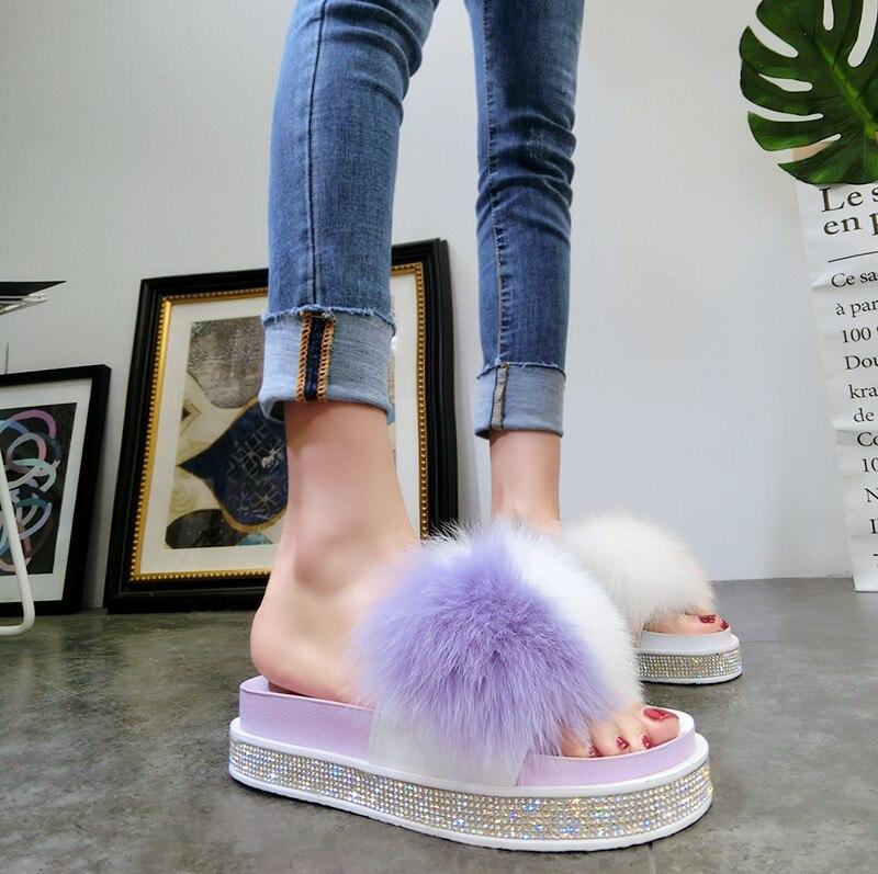 Sommar Kvinnors Furry Tofflor Luxury Lady Plush Fluffy Tofflor - Damskor - Foto 3