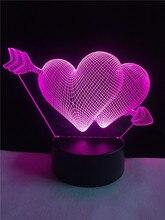 3D Arrow Through the Heart LED Night Light Romantic Lamp Lighting Lamp Wedding Decoration Lovers & Couple & Sweetheart Best Gift