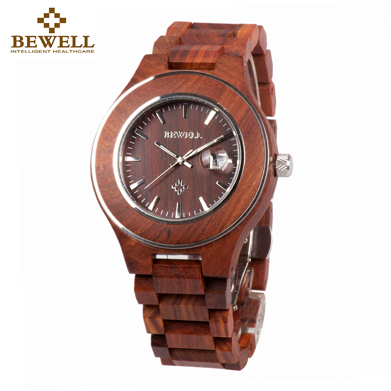 BEWELL Red Fashion Wood Watch Men Calendar Watch Mens Watches Top Brand Luxury Analog Quartz Wristwatches With Glasses Gift 100A bewell 2017 hot sale fashion wood watch men mens watches top brand luxury reloj hombre big horloges mannen with gift box 100ag