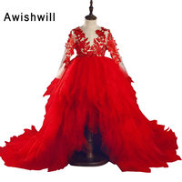 New Arrival Red Color Flower Girl Dresses Lace Appliques Girl Wedding Birthday Party Gowns Kids Pageant First Communion Dress