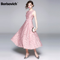 Borisovich Women Casual Long Dress New Brand 2018 Summer England Style Sleeveless Elegant Ladies Evening Party Dresses M768