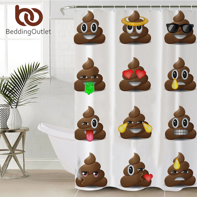 BeddingOutlet Poop Emoji Shower Curtain For Kids Bathroom Polyester Funny Smiley Faces With Hooks