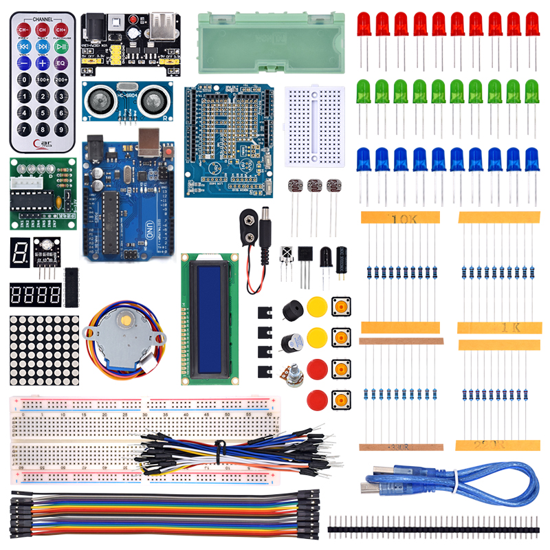 WeiKedz 2019 UNO Project The Most Complete Starter Kit for Arduino UNO R3 with Tutorial /1602 LCD /UNO R3/Resistor