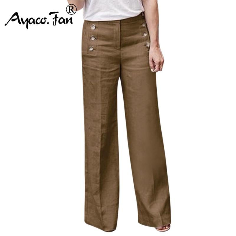 Plus Size 3XL 2019 Summer New Hot Cotton Linen Women Wide Legs Pants Solid Casual High