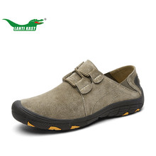 LANTI KAST Males Climbing Sneakers 2017 Summer time Outside Trekking Males Leather-based Sneakers Comfy Non-slip Rubber Soles Sport Sneakers Males