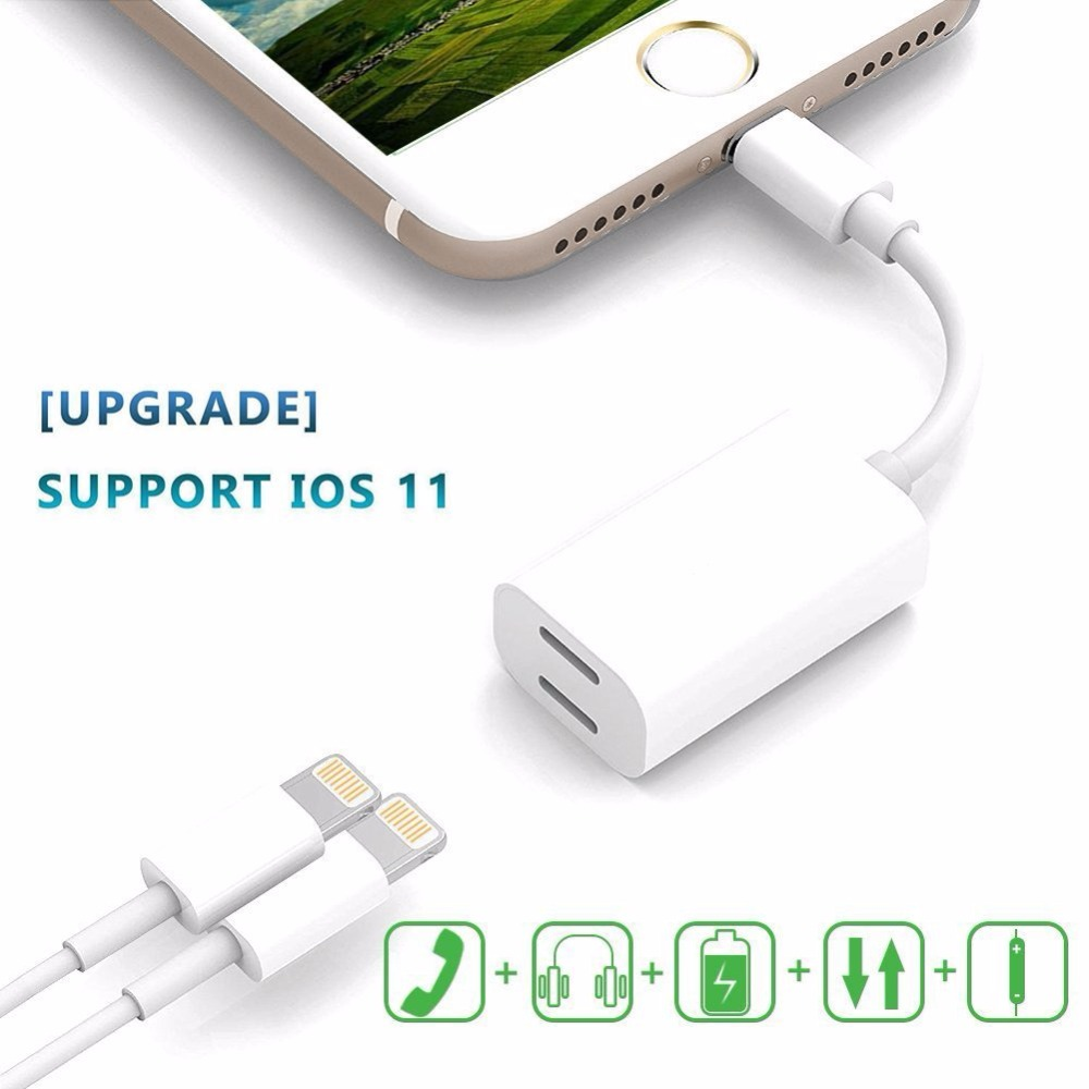 Leadzoe 2 in 1 Adapter For iPhone 7 8 Plus AUX Music Audio Converter Splitter Earphone Headphone Jack Adapter Cable For iPhone7