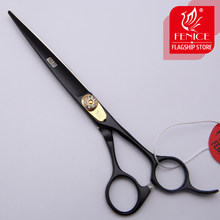Fencie Professional black 7.0 inch imported 440c dog hair grooming tools pet scissors steel cutting shears(China)