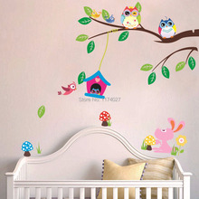 Free Shipping 2015 High Quality cute Owl tree Wall Sticker Home Decor Removable Vinyl Art Decals Kid Room decoration
