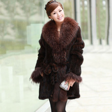 Ems Free Shipping 100% European Natural Women Knitted Mink Fur Coat With Big Raccoon Collar Cuff Real Mink Fur Jacket Size Plus