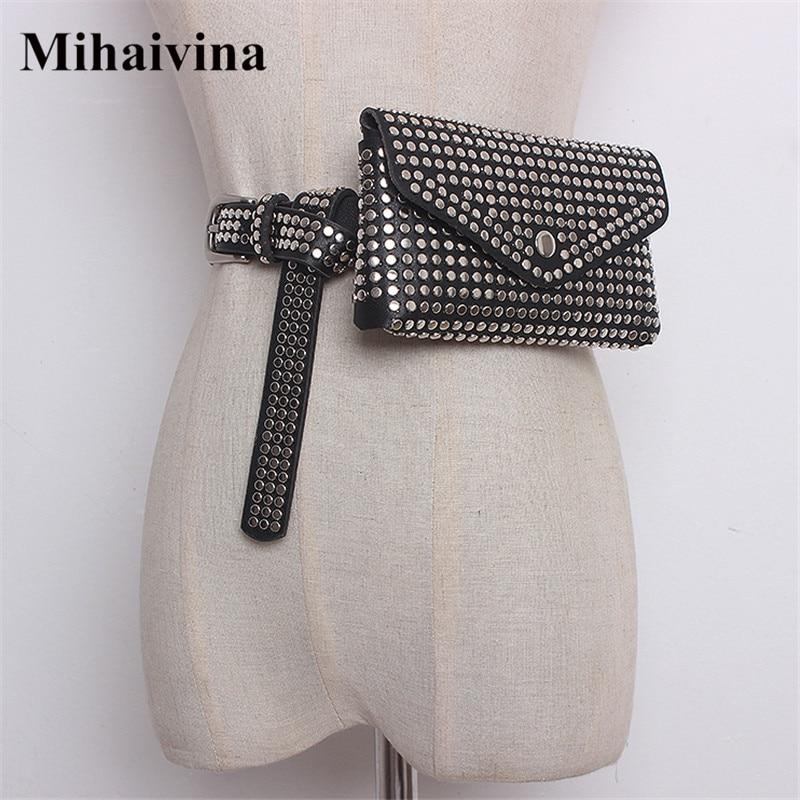 Mihaivina Fashion Waist Bag Women Rivet Waist Belt PU Leather Belt Bags Detachable Belts Travel Female Fanny Pack Fit iphone8/+ цена
