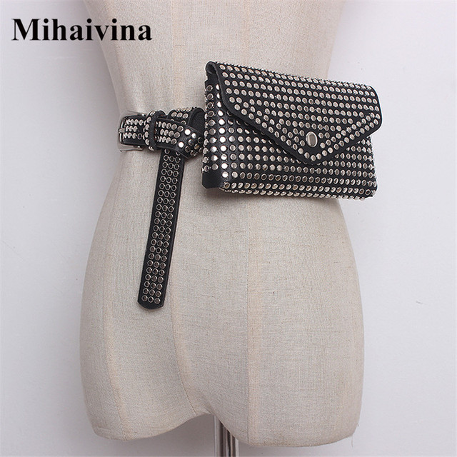 Mihaivina Fashion Waist Bag Women Rivet Waist Belt PU Leather Belt Bags Detachable Belts Travel Female Fanny Pack Fit iphone8/+