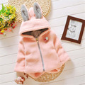 Cartoon Cute Girl Plush Coat With Rabbit Ears 2016 Fashion  Warm Little Girl Winter Coat Sweet Hooded Kids Children Coat Girls C