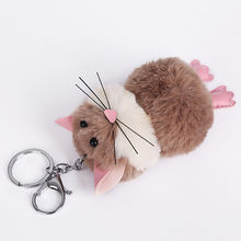 Cute Little Mouse Hair Ball Key Ring Pendant Ladies Bag Car Pendant 11.20(China)