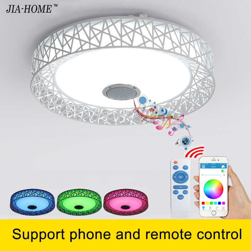 Music Led light ceiling with Bluetooth speaker and remote control Music round flush mount lamp for office ceiling light fixtures black and white round lamp modern led light remote control dimmer ceiling lighting home fixtures