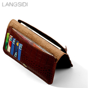 Image 2 - wangcangli brand genuine calf leather phone case crocodile texture flip multi function phone bag for Samsung Note8 hand made