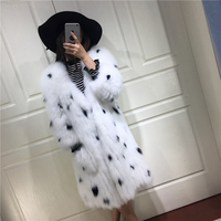 Genuine Fox Fur knitted Coats Natural Fur Jackets Women's Real Furs Outerwear 6XL 90cm length