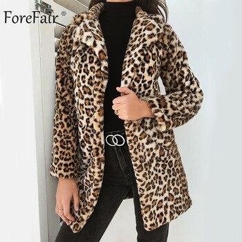 Forefair зима Leopard пальто Для женщин 2018 женский плюс Размеры свободные искусственного меха пальто Повседневное Осенняя Дамская длинное пальто
