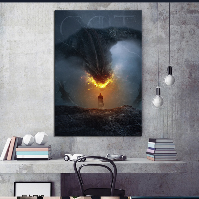 US TV Series Game of Thrones Daenerys Targaryen Poster and Print Dragon Artwork Painting Fantasy Art Wall Sticker Home Decor image
