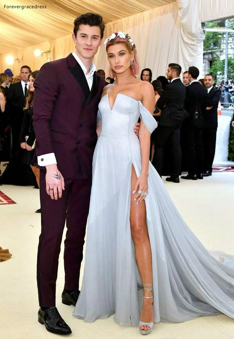 2019 Sky Blue Hailey Baldwin Prom Dress With High Slit Formal Pageant Holidays Wear Graduation Evening Party Gown Custom Made