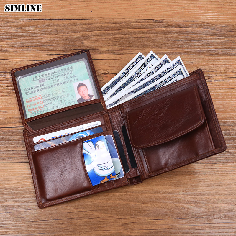 SIMLINE Genuine Leather Men Wallet Designer Men's Vintage Short Bifold Wallets Purse Card Holder With Coin Pocket Male Carteira недорго, оригинальная цена