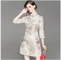 Women Dress 2018 New Autumn Stand Collar Half Sleeve Classic Dress Female Outwear Fashion Casual Slim Solid Embroidering Dress