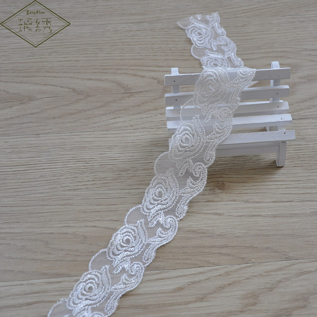 15 Yards Rayon Embroidered Lace Trim Apparel Sewing Lace Trimmings DIY  Apparel Sewing Accessories
