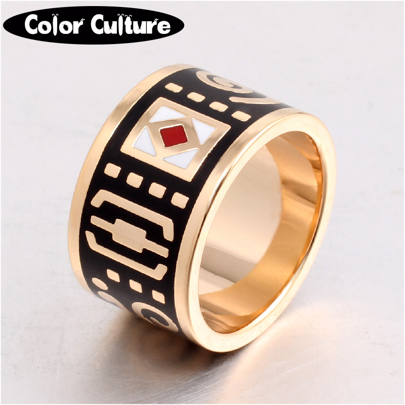 Den nye High-end Retro Classic Rustfrit Stål Ring Black Rings for Women Clothing smykker Emalje Ring Engros