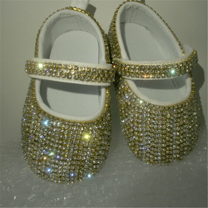 Glass Rhinestones Chain Bling Ballerina Sparkle Baby Cirb Shoes Christening Stunning Pram Princess Keepsake gift infant walkers