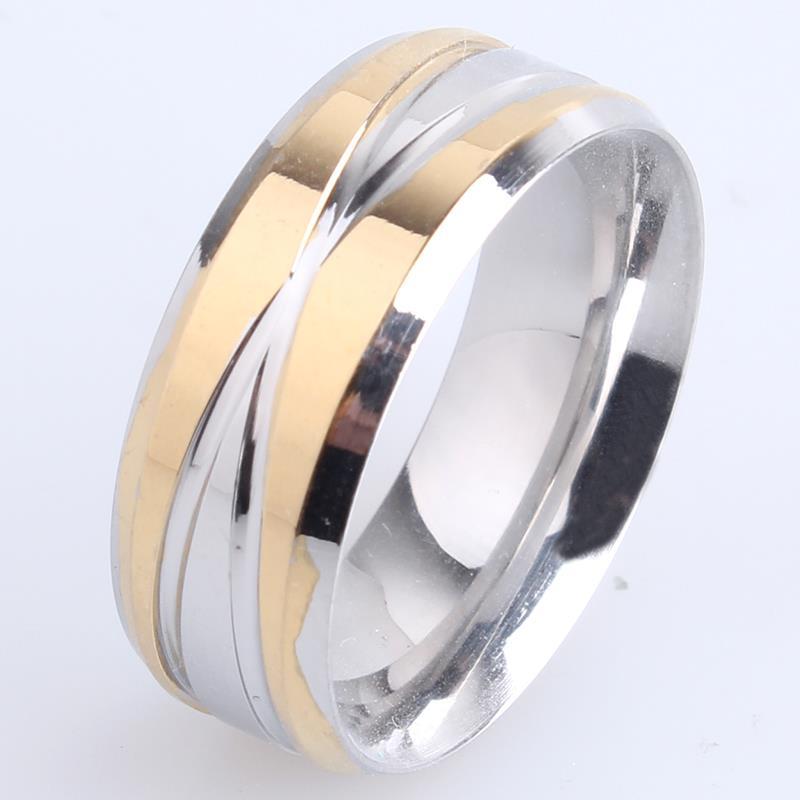 free shipping 8mm gold silver cross stripes 316L Stainless Steel finger rings for women men wholesale