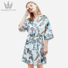 цена Woman Sexy Lace Bathrobe Perfect Satin Wedding Bride Robes Silk Night Robe Summer Bridesmaid Robe Set Print  Dressing Gowns