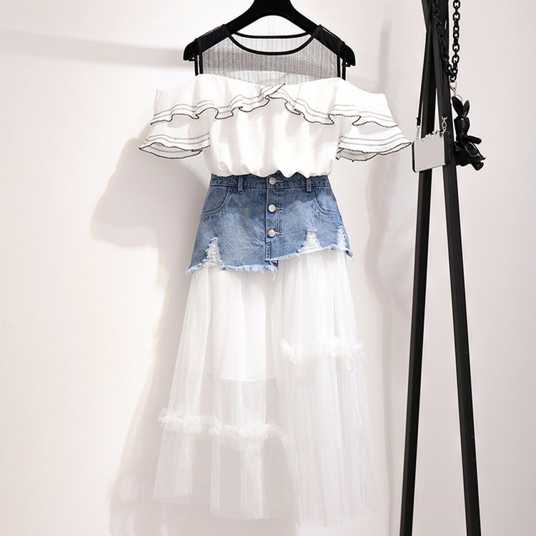 Summer Mesh Patchwork Party Suits Asymmetrical Denim Skirts Sets Women Ruffles Cold Shoulder Shirts Sweet Outfits