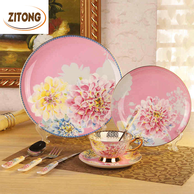 Royal Bone China Dinnerware Set Tableware Dishes And Plates Ceramic Dinner Knives And Forks