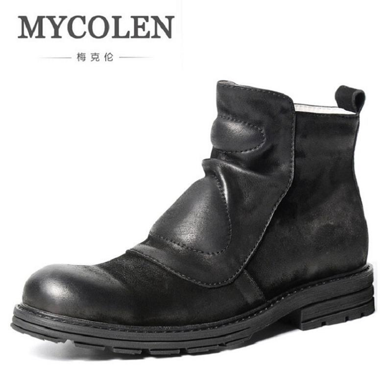 MYCOLEN Handmade Men Boots Winter New British Style Retro Men Boots Side Zipper Flats Men Ankle Boots Homme Botas Tacticas serene handmade winter warm socks boots fashion british style leather retro tooling ankle men shoes size38 44 snow male footwear